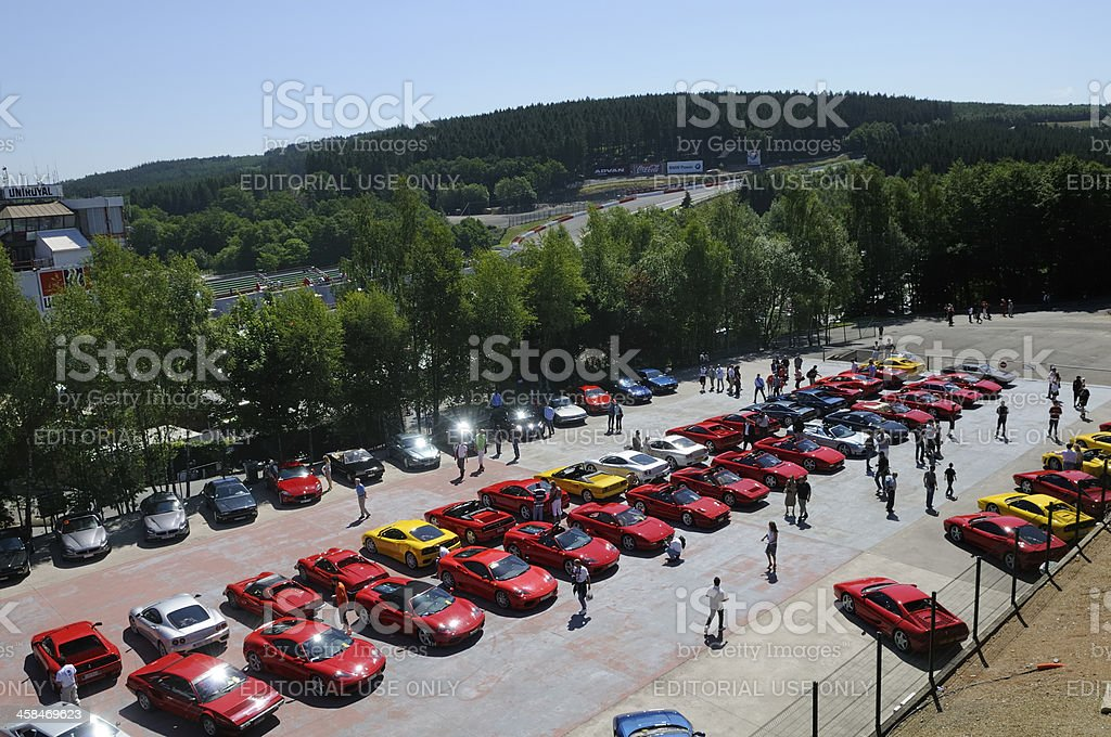 Ferrari parking lot at Spa Francorchamps stock photo