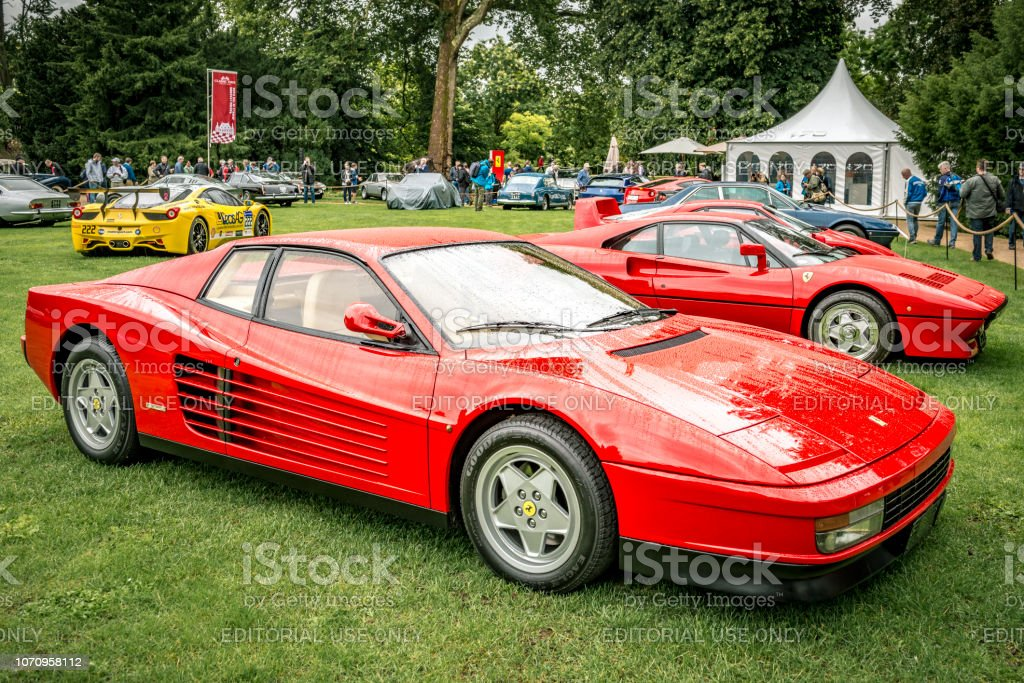 Ferrari Testarossa 1980s sports at a car show stock photo