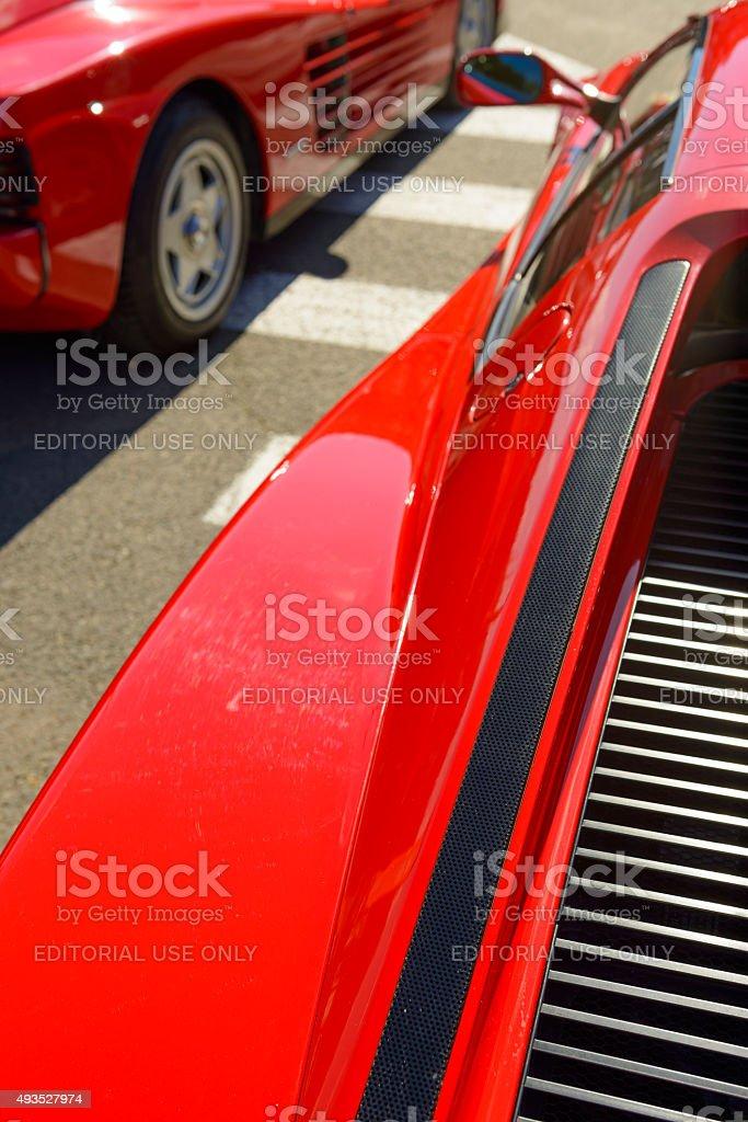 Ferrari Testarossa close up stock photo