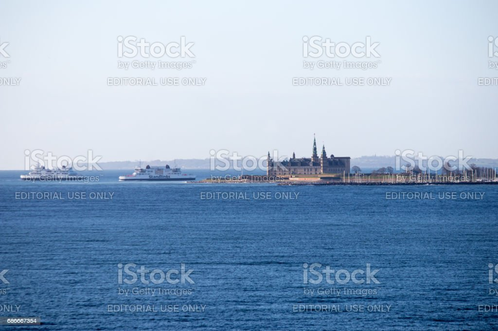 Ferries between Helsingor and Helsingborg stock photo