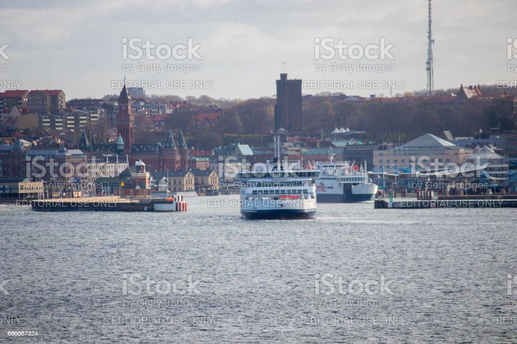 Ferries in Helsingborg stock photo