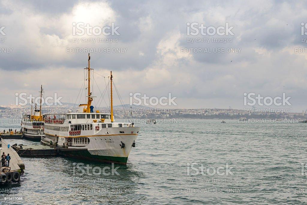 Ferries over the Bosphorus in Istanbul, Turkey stock photo