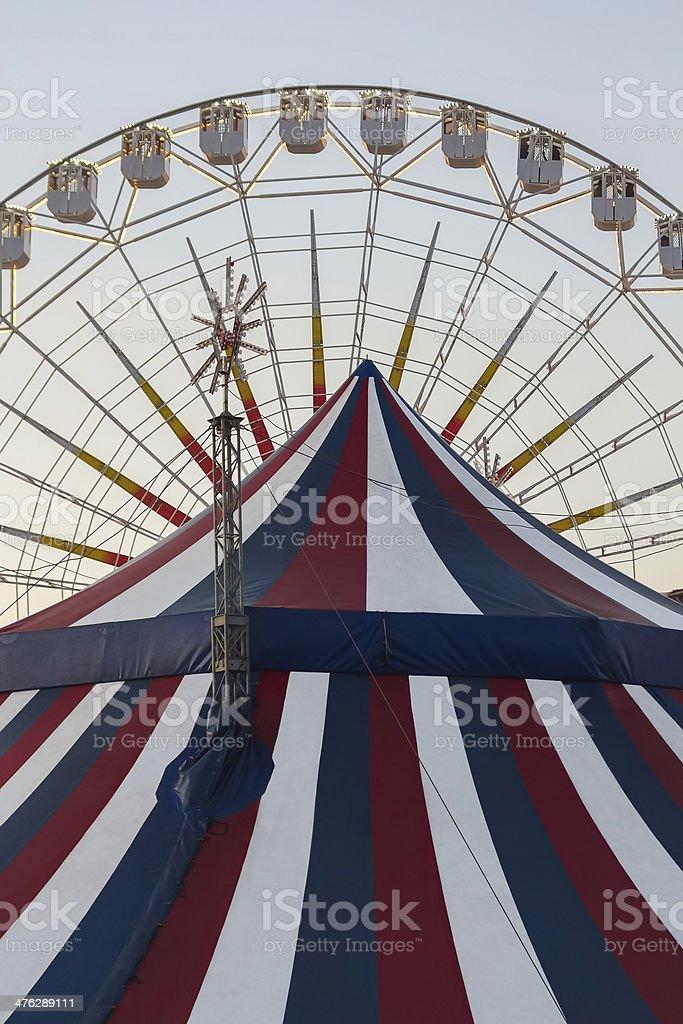 Ferris and Circus Tent - Noria y Carpa de Circo stock photo