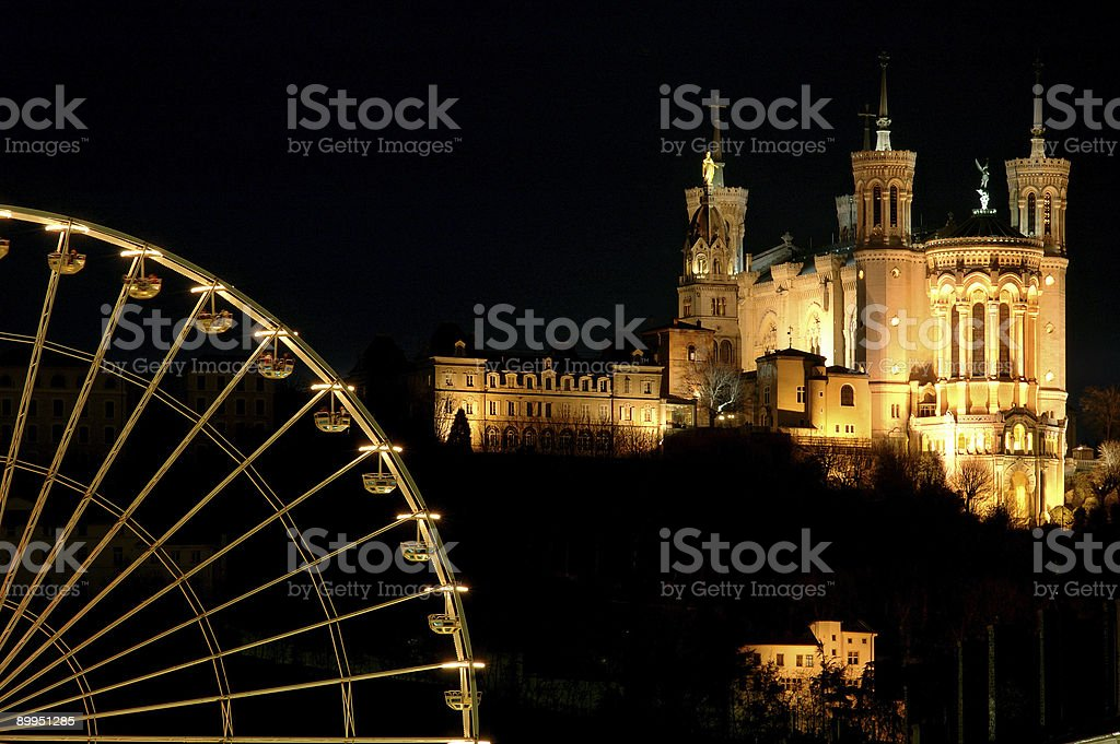 Ferris wheel and basilica royalty-free stock photo