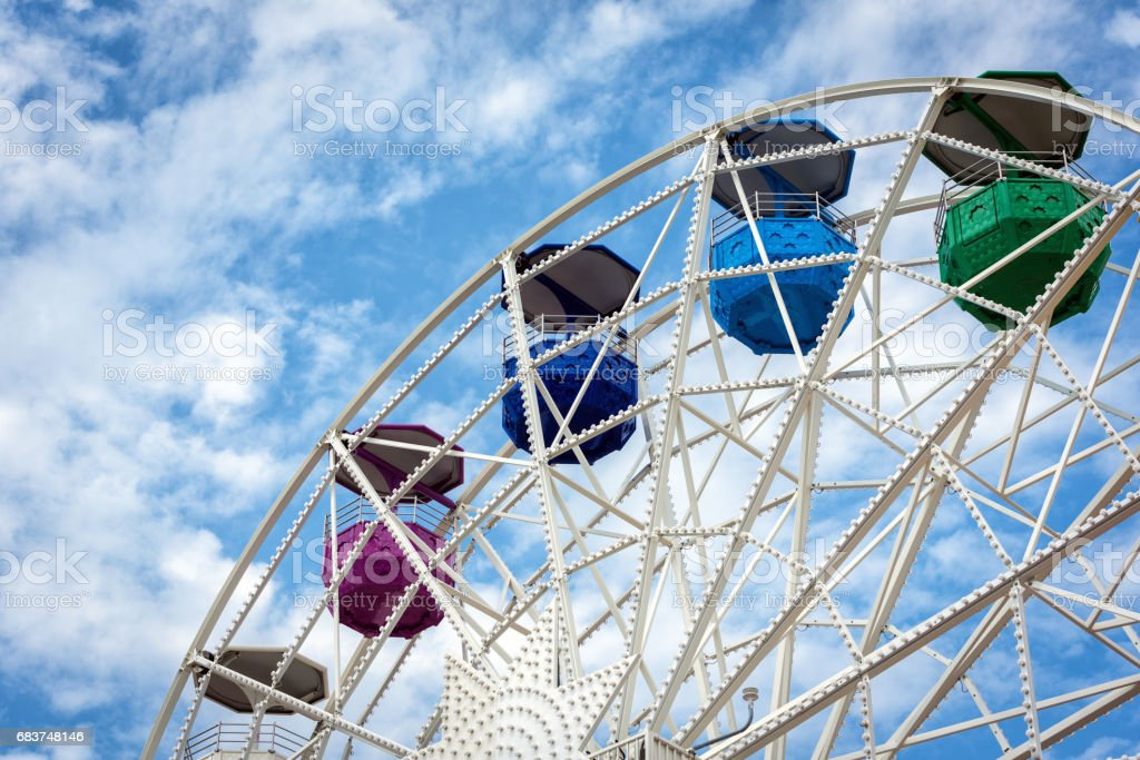 Ferris wheel and cloudy sky at mount Tibidabo in Barcelona, Spain stock photo
