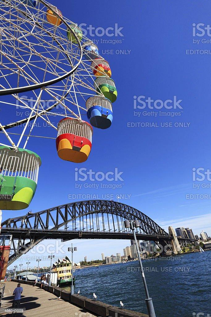 Ferris Wheel and Sydney Harbour Bridge, Australia royalty-free stock photo