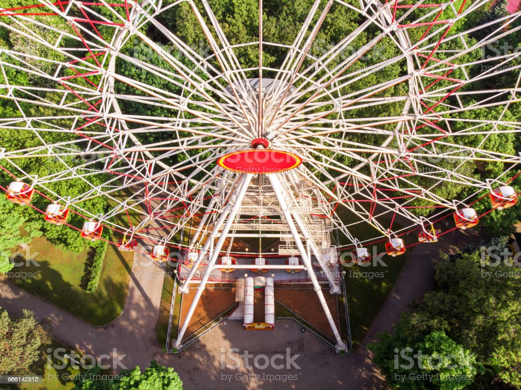 ferris wheel at an amusement park. aerial view. - Royalty-free Aerial View Stock Photo