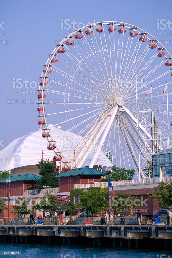 Ferris Wheel at Navy Pier in Chicago, IL stock photo