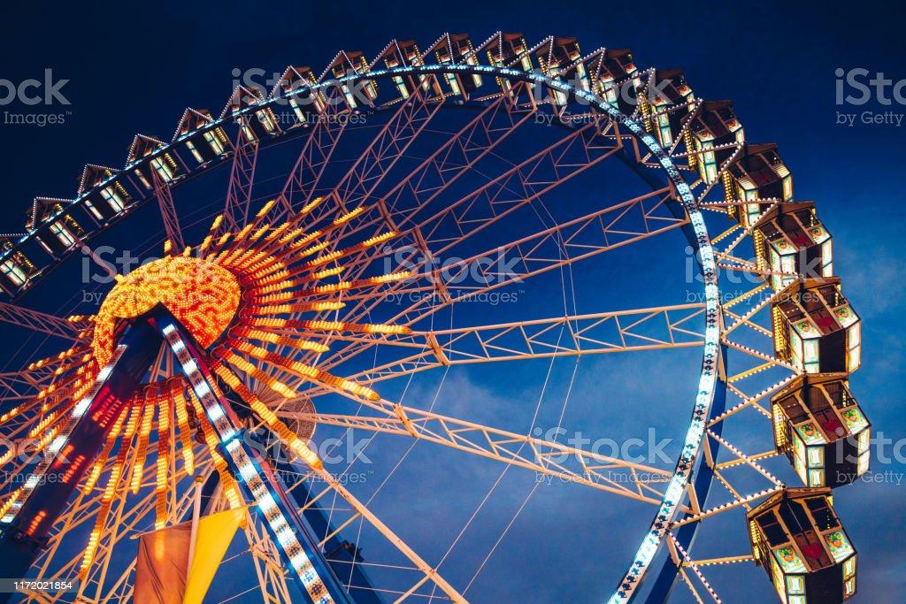 Riesenrad auf dem Oktoberfest in München - Lizenzfrei Altertümlich Stock-Foto