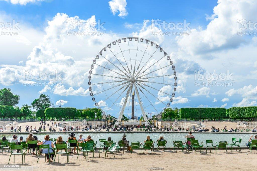 Ferris Wheel at the Tuileries Garden in Paris stock photo
