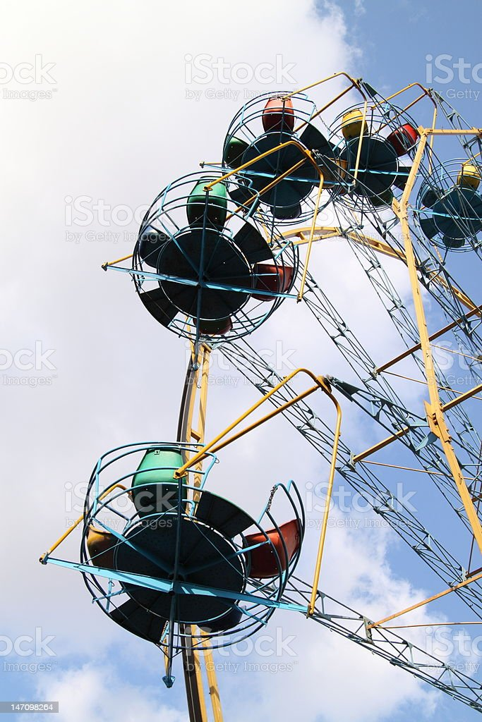 Ferris wheel attraction. City amusement park royalty-free stock photo