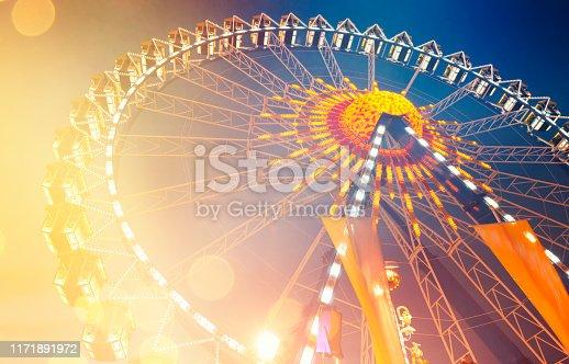 Ferris wheel background by night