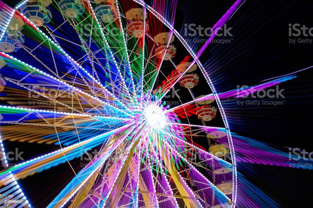 ferris wheel blurred motion stock photo