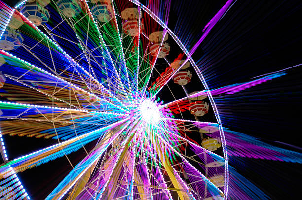 ferris wheel blurred motion stock photo