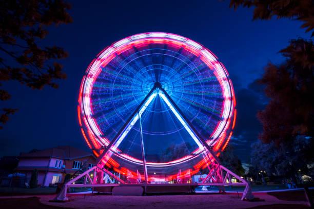 Ferris wheel go around at Lake Balaton at night stock photo