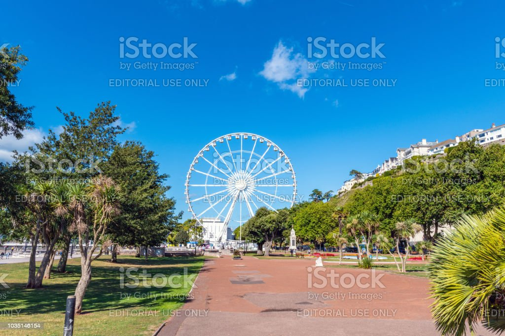 Ferris wheel in a park in Torquay, Devon stock photo