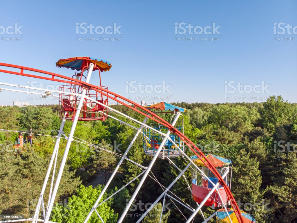 ferris wheel in amusement park - Royalty-free Aerial View Stock Photo
