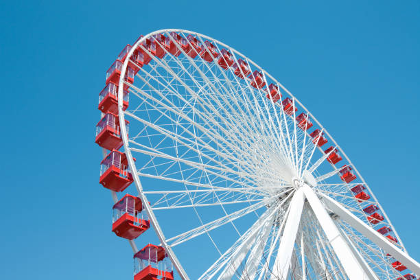 Ferris Wheel in Chicago Ferris Wheel against a blue sky in Chicago ferris wheel stock pictures, royalty-free photos & images