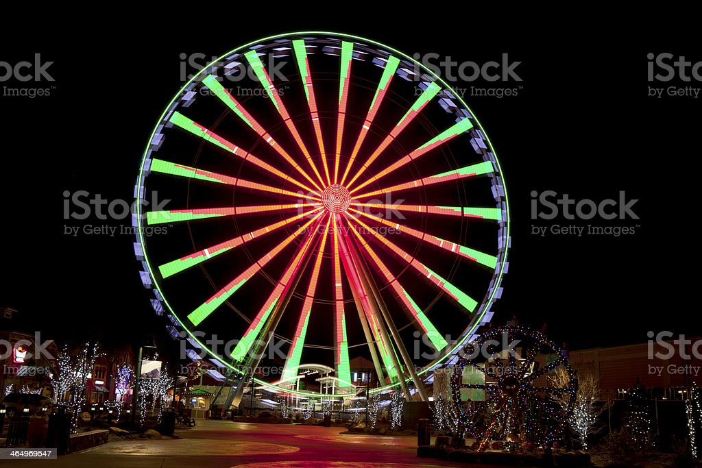 Ferris Wheel in Gatlinburg, Tennessee during the Christmas Holidays royalty-free stock photo