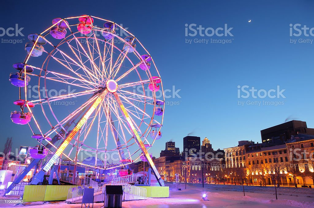 Ferris Wheel in Old Montreal during Winter royalty-free stock photo