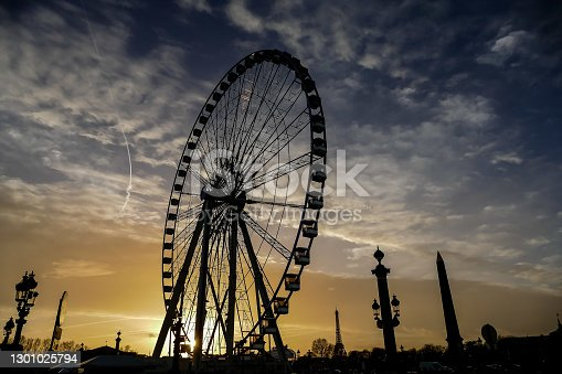 istock Ferris wheel in place de la Concorde,Photo image a Beautiful panoramic view of Paris Metropolitan City 1301025794