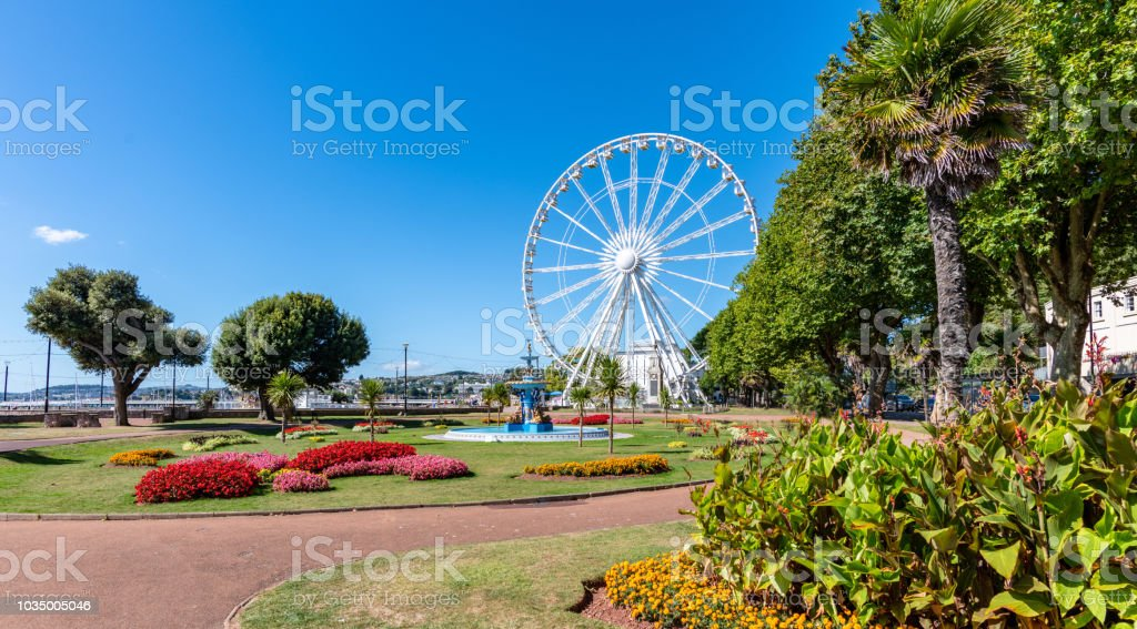 Ferris Wheel in Princess Garden in Torquay, Devon stock photo