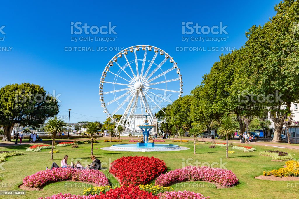 Ferris Wheel in Princess Gardens in Torquay, Devon stock photo