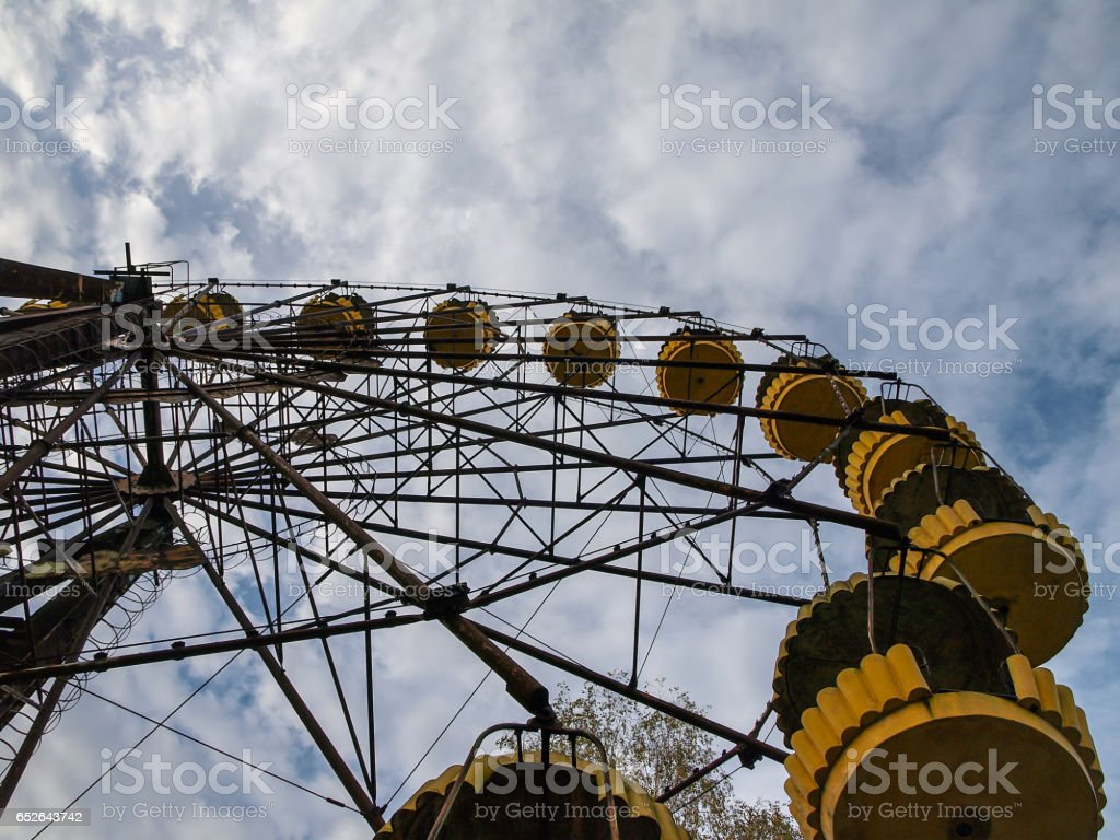 Ferris wheel in Pripyat ghost town close to Chernobyl, 2016 stock photo