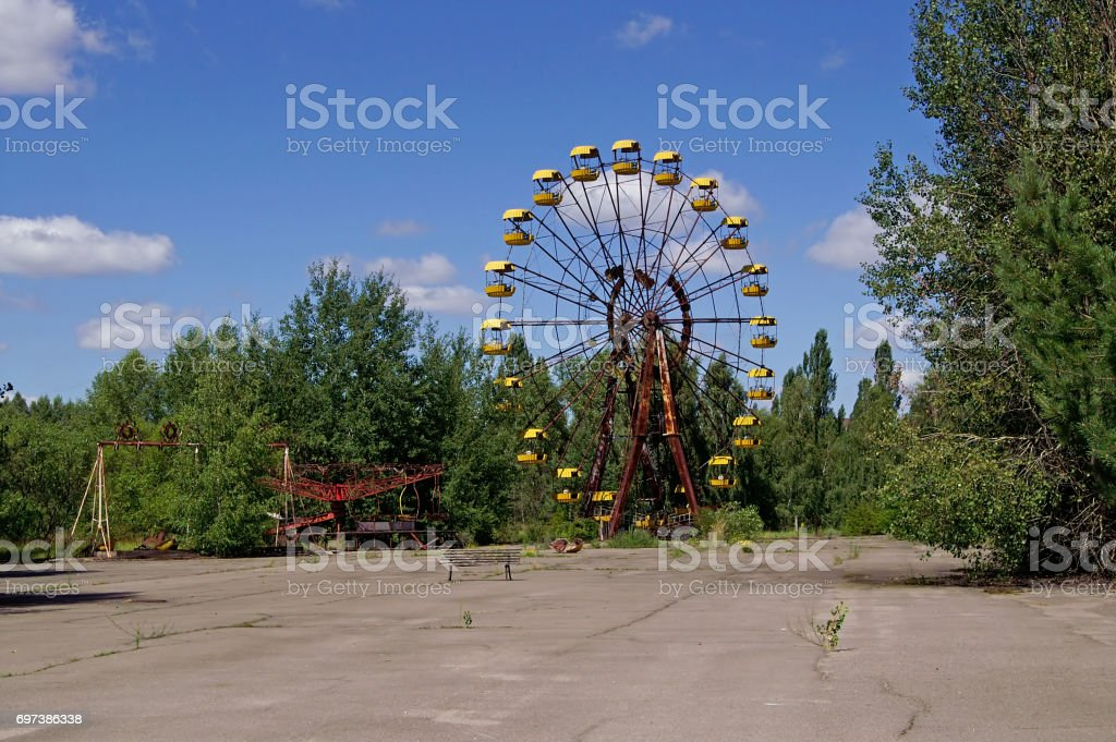 Ferris wheel in Pripyat ghost town in Chornobyl Exclusion Zone, Ukraine stock photo