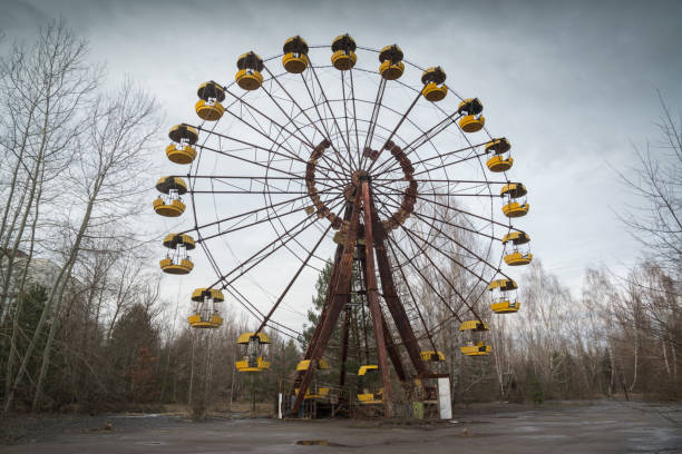 Ferris wheel in Pripyat stock photo