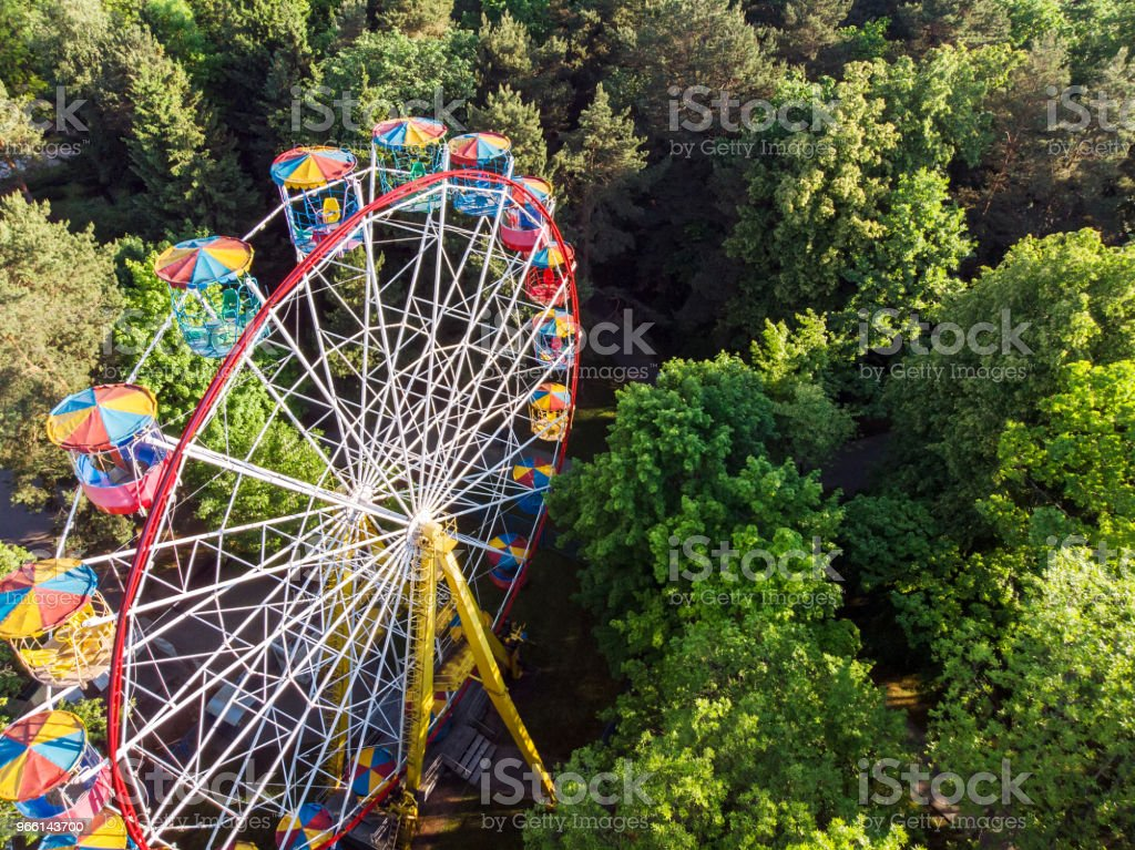 ferris wheel in public park at summer morning - Royalty-free Aerial View Stock Photo