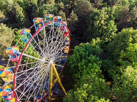 Ferris Wheel In Public Park At Summer Morning Stock Photo - Download Image Now