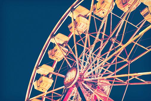 Ferris Wheel In Retro Tones Against Night Sky