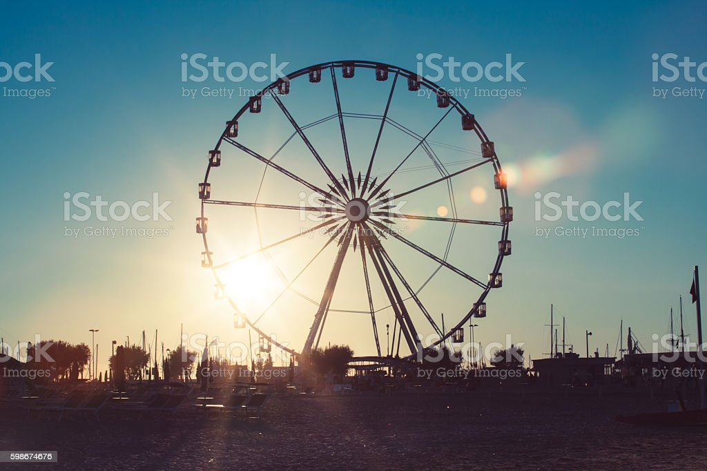 Ferris Wheel in Rimini stock photo