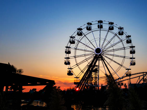 Ferris wheel in sunset.  Big wheel with cabins Ferris wheel in sunset.  Big wheel with cabins. Circle construction to beautiful panoramatic view. Summer  amusement ride for enjoy holidays. traveling carnival stock pictures, royalty-free photos & images