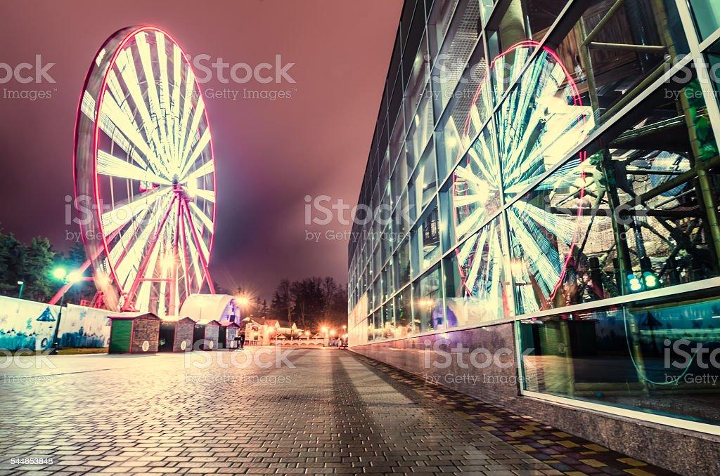 Ferris wheel in the night park, Kharkiv, Ukraine stock photo