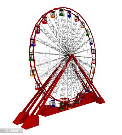 Computer generated 3D illustration with a ferris wheel isolated on white background