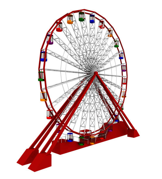 Ferris wheel isolated on white background Computer generated 3D illustration with a ferris wheel isolated on white background ferris wheel stock pictures, royalty-free photos & images