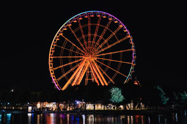 Ferris wheel of Montreal at night stock photo