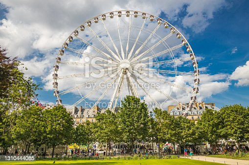 istock Ferris wheel of the Jardin des Tuileries in Paris France on a Summer day with blue sky and white clouds 1310444085