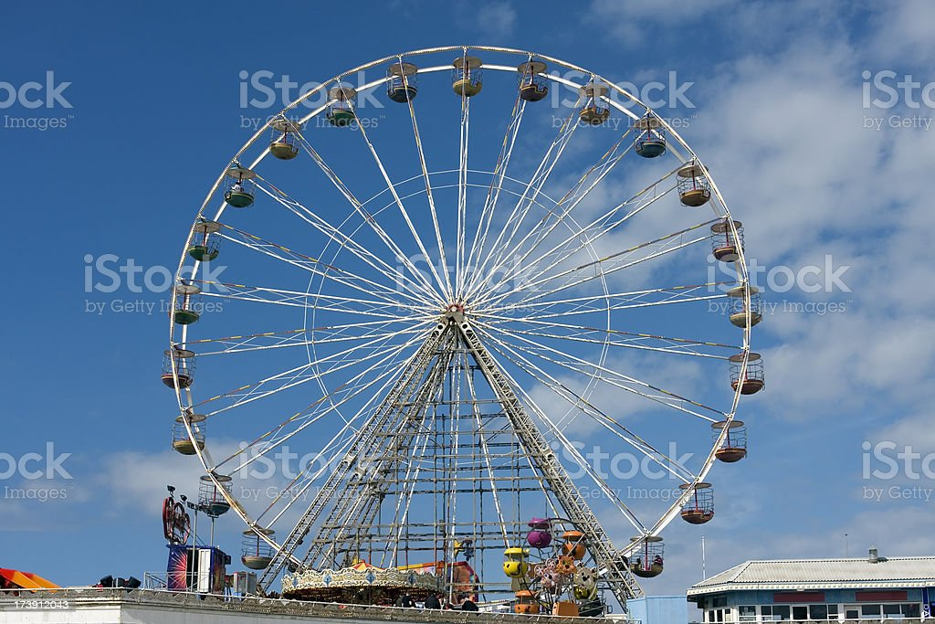 Ferris wheel on a seaside pier, Blackpool stock photo