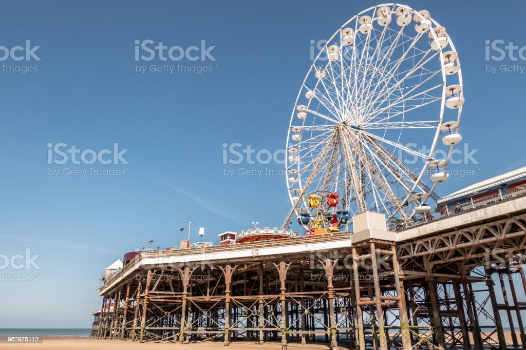 Ferris wheel on the pier at Blackpool, Lancashire stock photo