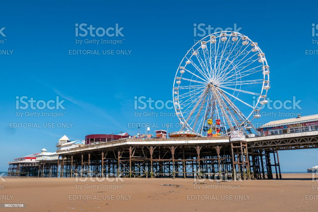 Ferris Wheel on the pier in Blackpool. stock photo