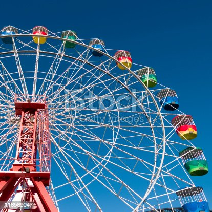 Ferris Wheel at Luna Park in Sydney with blue Sky background