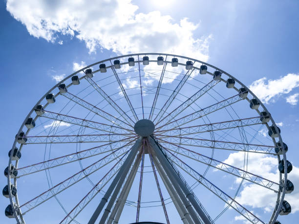 Ferris Wheel Picture of a Ferris Wheel.   Like a Giant fortress against a blue sky, this Ferris wheel offered enjoyment for all. pigeon forge stock pictures, royalty-free photos & images