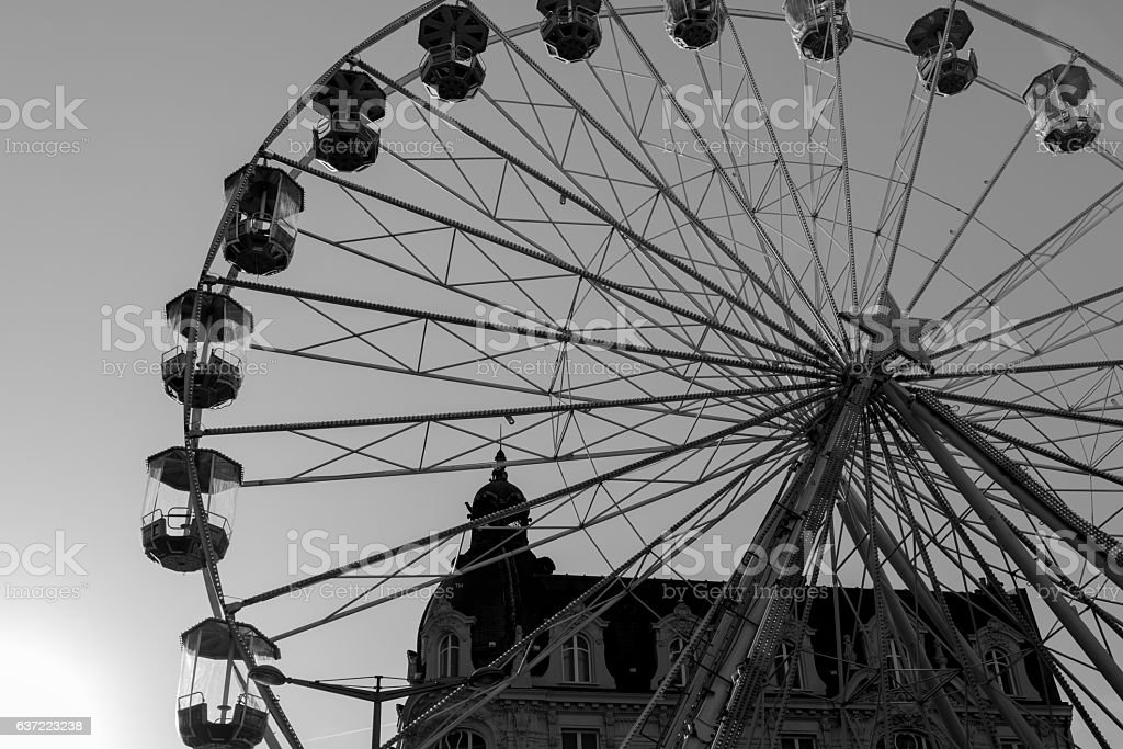 Ferris wheel silhouette in black and white stock photo