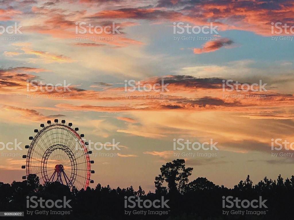 Ferris Wheel Sunset stock photo