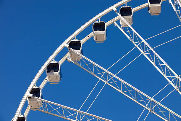 Ferris Wheel with Enclosed Gondolas Ferris wheel with enclosed gondolas at an amusement park in Pigeon Forge, Tennessee pigeon forge stock pictures, royalty-free photos & images