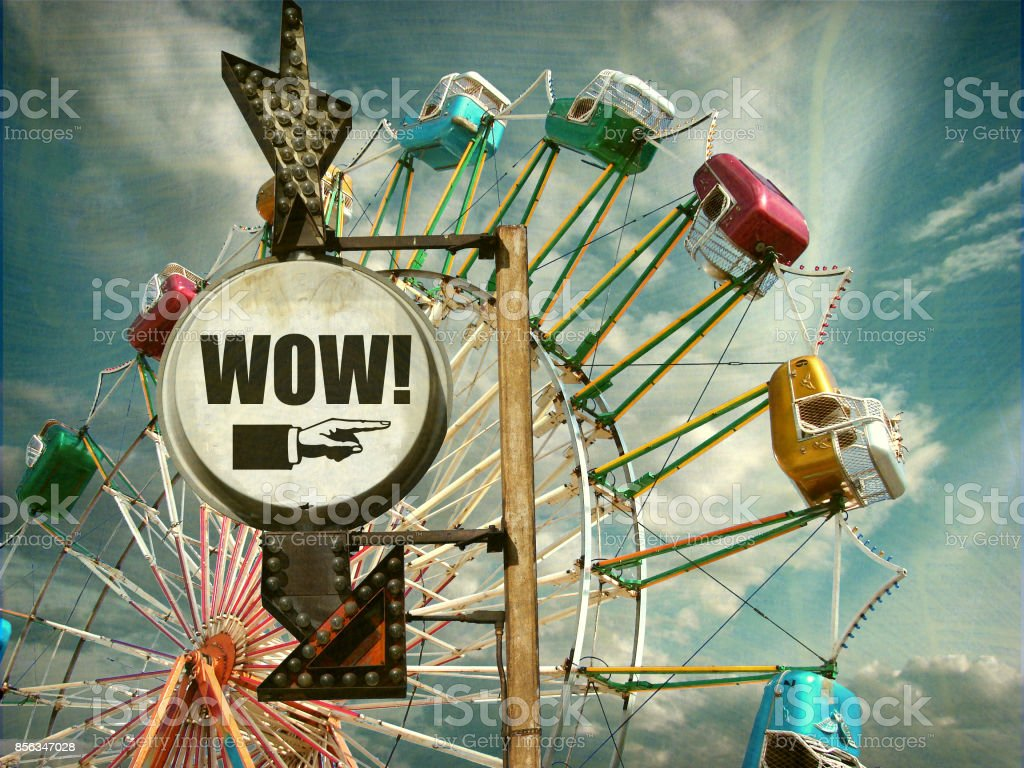 ferris wheel with sign stock photo