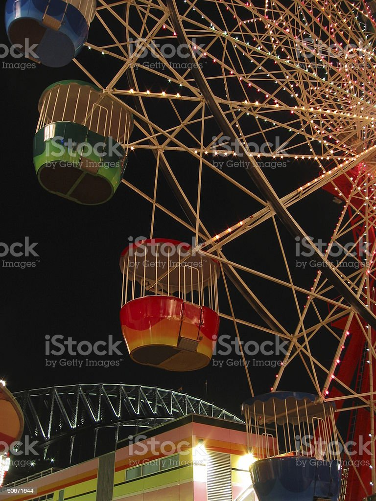Ferris wheel with the Sydney Harbour bridge in background royalty-free stock photo